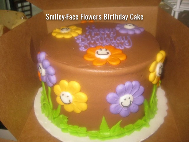 Smiley Face Flowers Birthday Cake